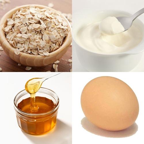 Bột yến mạch +Lòng trắng trứng +Sữa chua không đường